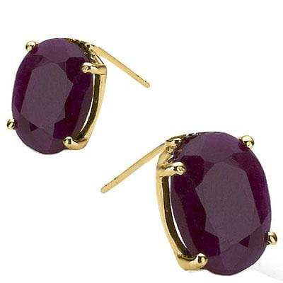 EXCLUSIVE 1 CARAT TW (2 PCS) GENUINE RUBY 10K SOLID YELLOW GOLD EARRINGS - Wholesalekings.com