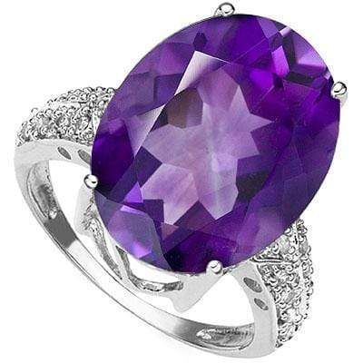 EXCLUSIVE 10.47 CARAT AMETHYST & GENUINE DIAMOND 14K SOLID WHITE GOLD RING - Wholesalekings.com
