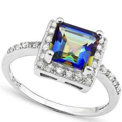 EXCLUSIVE 2.112 CARAT TW  OCEAN MYSTIC GEMSTONE & CREATED WHITE SAPPHIRE PLATINUM OVER 0.925 STERLING SILVER RING - Wholesalekings.com