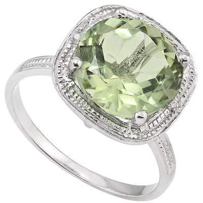 EXCLUSIVE 2.13 CT GREEN AMETHYST & 2 PCS WHITE DIAMOND PLATINUM OVER 0.925 STERLING SILVER RING wholesalekings wholesale silver jewelry