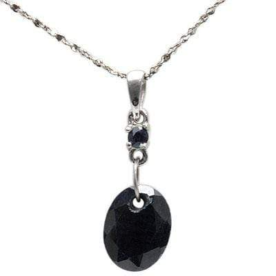 EXCLUSIVE 2.15 CT GENUINE BLACK SAPPHIRE & 1 PCS GENUINE SAPPHIRE 10K SOLID WHITE GOLD PENDANT - Wholesalekings.com