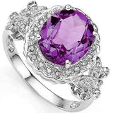 EXCLUSIVE 3.55 CT AMETHYST & 2 PCS GENUINE DIAMOND PLATINUM OVER 0.925 STERLING SILVER RING - Wholesalekings.com
