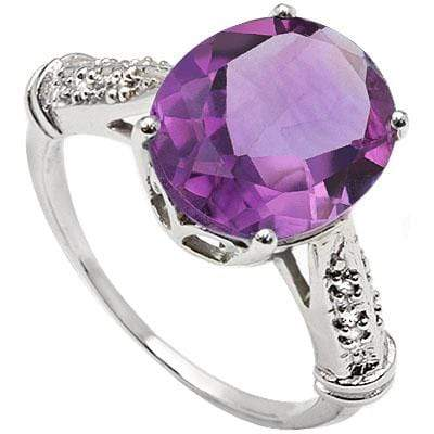 EXCLUSIVE 5.50 CT AMETHYST & 2 PCS WHITE DIAMOND PLATINUM OVER 0.925 STERLING SILVER RING - Wholesalekings.com