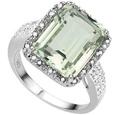 EXCLUSIVE 6.04 CT GREEN AMETHYST & 2 PCS GENUINE DIAMOND 0.925 STERLING SILVER W/ PLATINUM RING - Wholesalekings.com