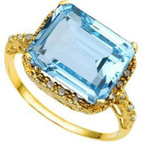 EXCLUSIVE 7.74 CARAT TW (19 PCS) BLUE TOPAZ & GENUINE DIAMOND 10K SOLID YELLOW G - Wholesalekings.com