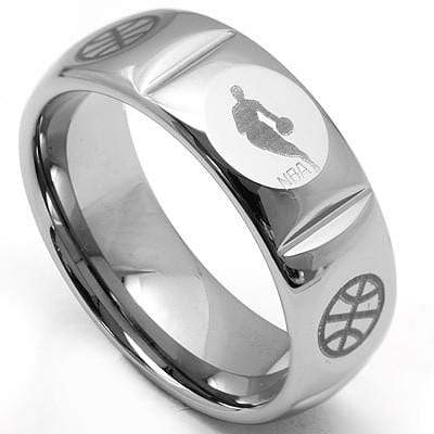 EXCLUSIVE  LASER ENGRAVED NBA LOGO  CARBIDE TUNGSTEN RING wholesalekings wholesale silver jewelry