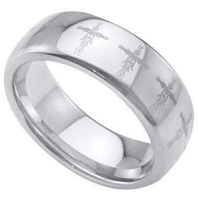EXCLUSIVE LASER ENGRAVED  VINTAGE CROSS CARBIDE TUNGSTEN RING wholesalekings wholesale silver jewelry