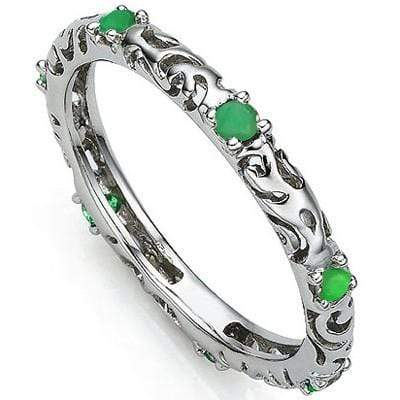 EXQUISITE 0.22 CT GENUINE EMERALD PLATINUM OVER 0.925 STERLING SILVER RING wholesalekings wholesale silver jewelry