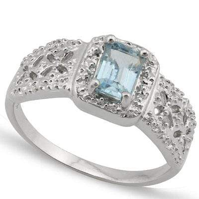 EXQUISITE 0.532 CARAT TW  BLUE TOPAZ & GENUINE DIAMOND PLATINUM OVER 0.925 STERLING SILVER RING - Wholesalekings.com