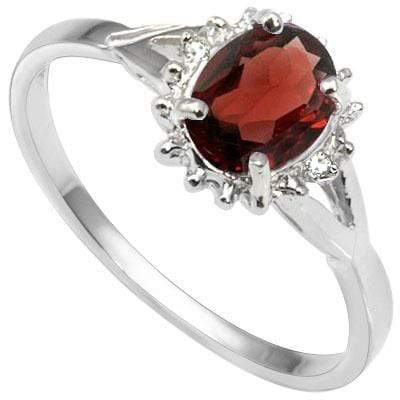 EXQUISITE 0.69 CARAT GARNET & GENUINE DIAMOND PLATINUM OVER 0.925 STERLING SILVER RING - Wholesalekings.com