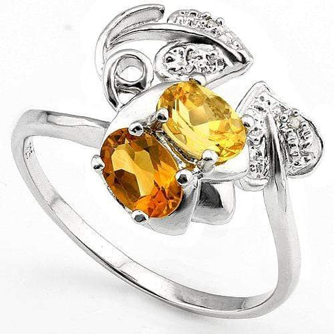 EXQUISITE 0.90 CT CITRINE & 2 PCS WHITE DIAMOND PLATINUM OVER 0.925 STERLING SILVER RING - Wholesalekings.com