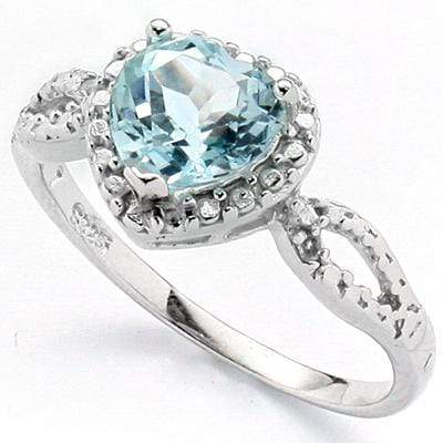 EXQUISITE 1.34 CARAT TW BLUE TOPAZ & GENUINE DIAMOND PLATINUM OVER 0.925 STERLING SILVER RING - Wholesalekings.com