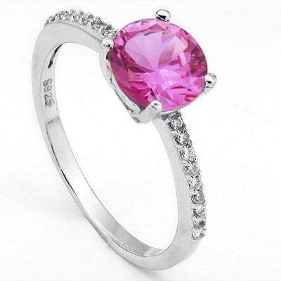 EXQUISITE 1.45 CT CREATED PINK SAPPHIRE & 20PCS CUBIC ZIRCONIA PLATINUM OVER 0.925 STERLING SILVER RING - Wholesalekings.com