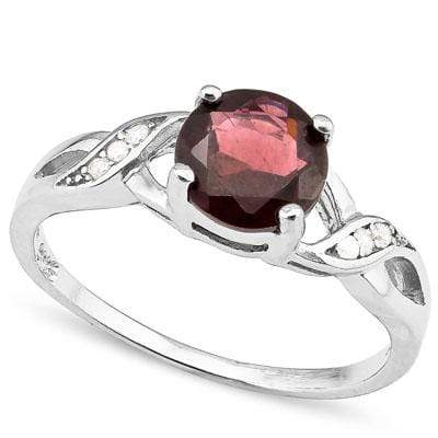 EXQUISITE 1.63 CARAT TW GARNET & CREATED WHITE SAPPHIRE PLATINUM OVER 0.925 STERLING SILVER RING - Wholesalekings.com