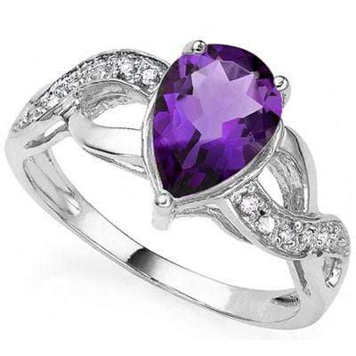 EXQUISITE 1.72 CT AMETHYST & 2 PCS WHITE DIAMOND PLATINUM OVER 0.925 STERLING SILVER RING - Wholesalekings.com