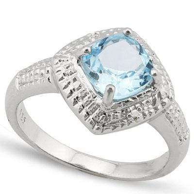 EXQUISITE 1.772 CARAT TW BLUE TOPAZ & GENUINE DIAMOND PLATINUM OVER 0.925 STERLING SILVER RING - Wholesalekings.com