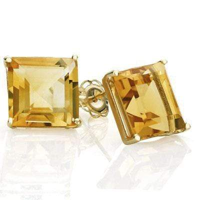 EXQUISITE 1 CARAT TW (2 PCS) CITRINE 10K SOLID YELLOW GOLD EARRINGS - Wholesalekings.com