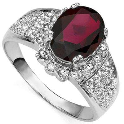 EXQUISITE 2.21 CT GARNET & 2PCS GENUINE DIAMOND PLATINUM OVER 0.925 STERLING SILVER RING - Wholesalekings.com