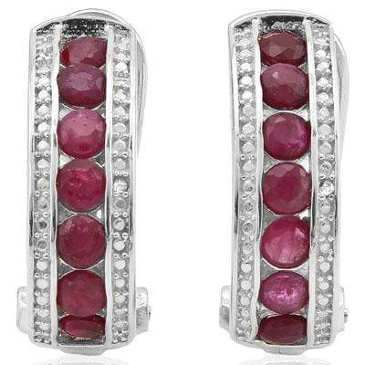 EXQUISITE 2.262 CARAT GENUINE RUBY & GENUINE DIAMOND PLATINUM OVER 0.925 STERLING SILVER FRENCH BACK EARRINGS wholesalekings wholesale silver jewelry