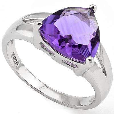 EXQUISITE 3.00 CT AMETHYST PLATINUM OVER 0.925 STERLING SILVER RING - Wholesalekings.com