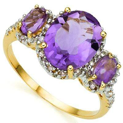 EXQUISITE 3.04 CARAT TW (25 PCS) AMETHYST & AMETHYST 10K SOLID YELLOW GOLD RING wholesalekings wholesale silver jewelry