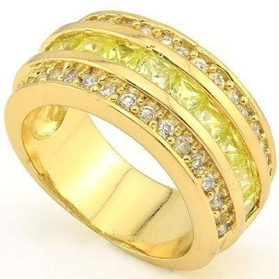 EXQUISITE 3.30 CT CREATED PERIDOT & 34 PCS CREATED WHITE SAPPHIRE 18K YELLOW GOLD OVER STERLING SILVER RING - Wholesalekings.com