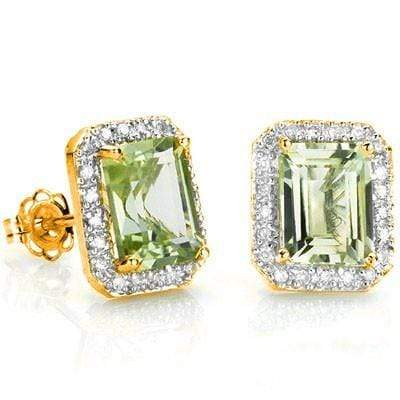 EXQUISITE 3.30 CT GREEN AMETHYST & 42 PCS WHITE DIAMOND 10K SOLID YELLOW GOLD EARRINGS wholesalekings wholesale silver jewelry