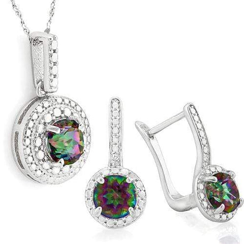 EXQUISITE !   3 CARAT MYSTIC GEMSTONE &   DIAMOND 925 STERLING SILVER SET - Wholesalekings.com