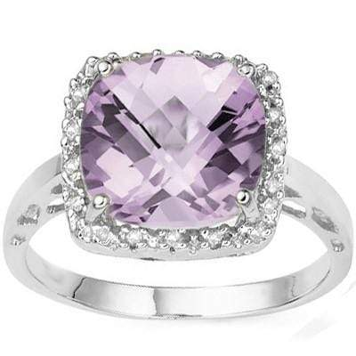 EXQUISITE 4.05 CT PINK AMETHYST & 16 PCS WHITE DIAMOND 10K SOLID WHITE GOLD RING wholesalekings wholesale silver jewelry