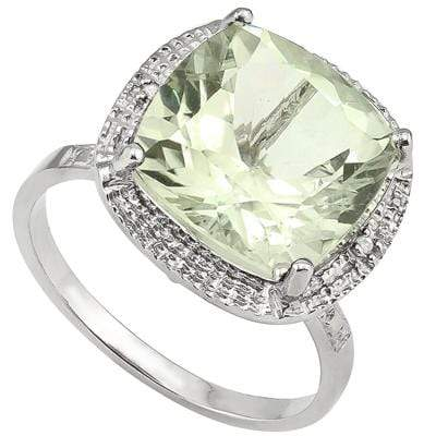 EXQUISITE 6.46 CT GREEN AMETHYST & 2 PCS WHITE DIAMOND PLATINUM OVER 0.925 STERLING SILVER RING - Wholesalekings.com