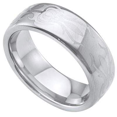 EXQUISITE LASER ENGRAVED CELTIC DESIGN CARBIDE TUNGSTEN RING - Wholesalekings.com