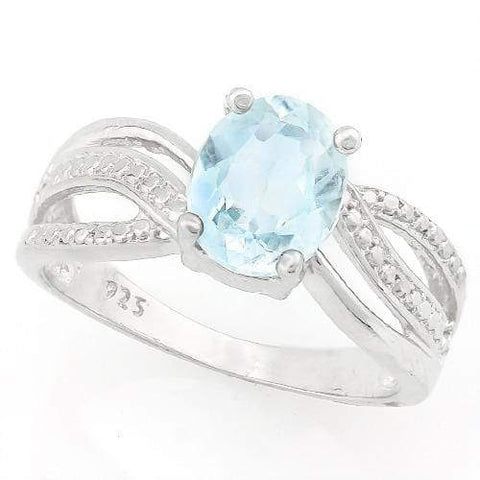EXQUISTE ! 2 CARAT BABY SWISS BLUE TOPAZ & DIAMOND 925 STERLING SILVER RING - Wholesalekings.com