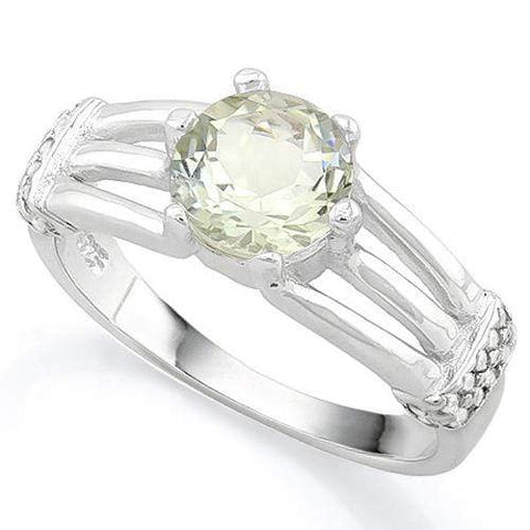 FANTASTIC ! 1 3/5 CARAT GREEN AMETHYST & (20 PCS) FLAWLESS CREATED DIAMOND 925 STERLING SILVER RING - Wholesalekings.com