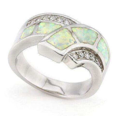FASCINATING ! 1 1/2 CARAT CREATED FIRE OPAL & 1/2 CARAT (10 PCS) CREATED WHITE SAPPHIRE 925 STERLING SILVER RING - Wholesalekings.com
