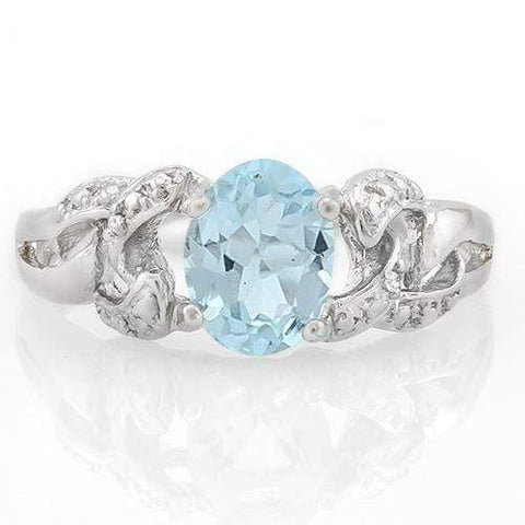 FASCINATING! 1 1/3 CARAT BABY SWISS BLUE TOPAZ & DIAMOND 925 STERLING SILVER RING wholesalekings wholesale silver jewelry