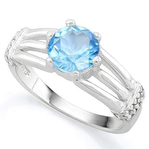 FASCINATING ! 1 3/4 CARAT SKY BLUE TOPAZ & (20 PCS) FLAWLESS CREATED DIAMOND 925 STERLING SILVER RING wholesalekings wholesale silver jewelry
