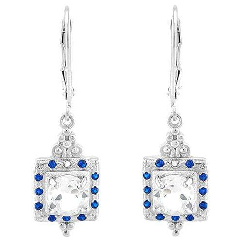 FASCINATING!  1 4/5 CARAT WHITE TOPAZ & DIAMOND 925 STERLING SILVER LEVER BACK EARRINGS - Wholesalekings.com