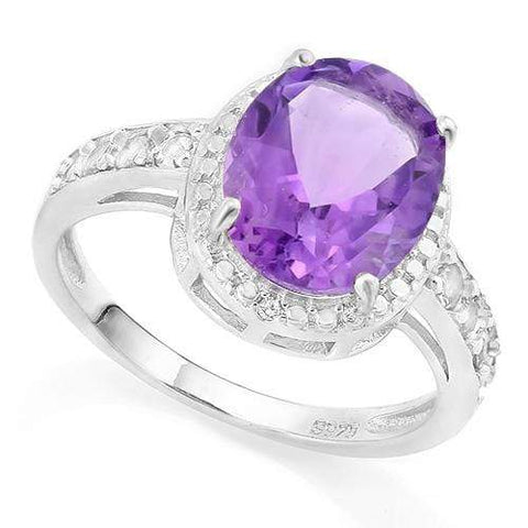 FASCINATING! 3 CARAT AMETHYST & 1/4 CARAT (8 PCS) CREATED WHITE SAPPHIRE 925 STERLING SILVER RING - Wholesalekings.com