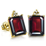 FINE SOLID 10KT YELLOW GOLD OCTAGON 2.24CT GARNET AND 6 DIAMONDS EARRINGS STUD - Wholesalekings.com