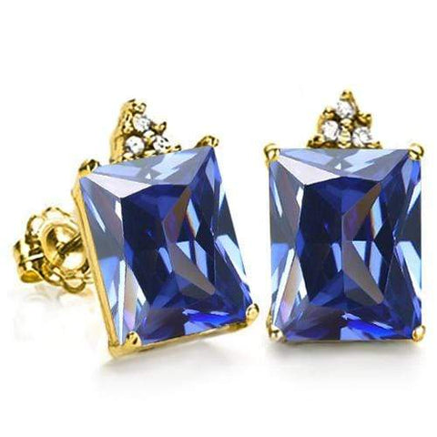 FINE SOLID 10KT YELLOW GOLD OCTAGON 2.91CT CREATED TANZANITE  AND 6 DIAMONDS EARRINGS STUD - Wholesalekings.com