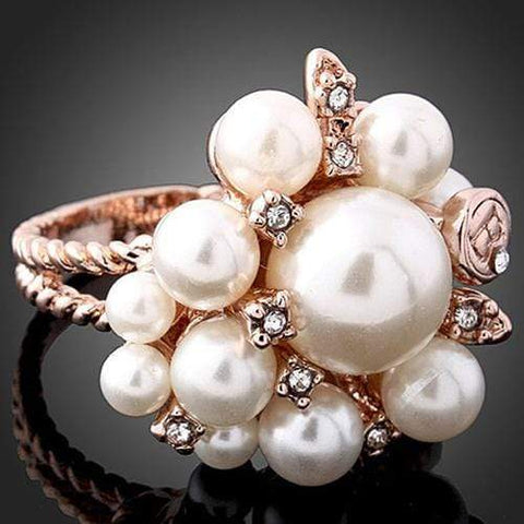 FOXY ! 18K GOLD PLATED DESIGNER MAN-MAKE PEARL COCKTAIL RING wholesalekings wholesale silver jewelry