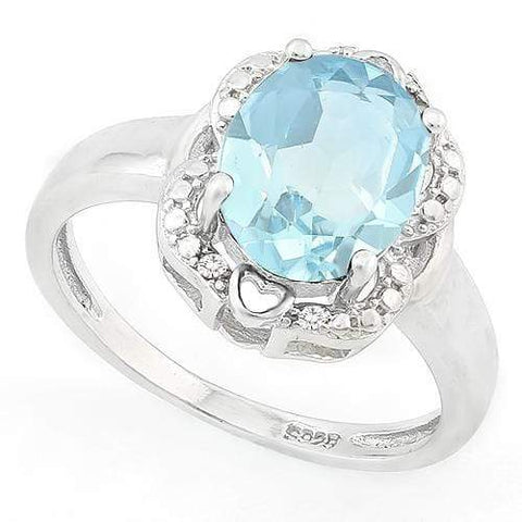 FOXY ! 3 1/5 CARAT BABY SWISS BLUE TOPAZ & DIAMOND 925 STERLING SILVER RING - Wholesalekings.com