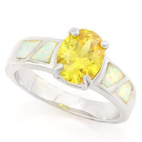 FOXY ! 3 4/5 CARAT CREATED CITRINE & 1 CARAT CREATED FIRE OPAL 925 STERLING SILVER RING - Wholesalekings.com