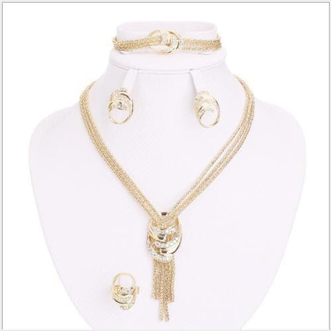 FOXY ! FLAWLESS CREATED DIAMOND 18K GOLD PLATED GERMAN SILVER 4PCS SET - Wholesalekings.com