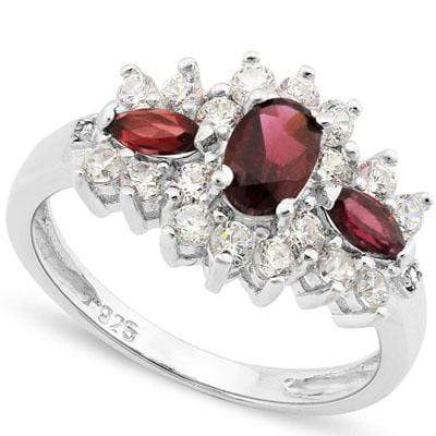1.02 CT GARNET & 1.17 CT LAB CREATED DIAMOND 925 STERLING SILVER RING - Wholesalekings.com