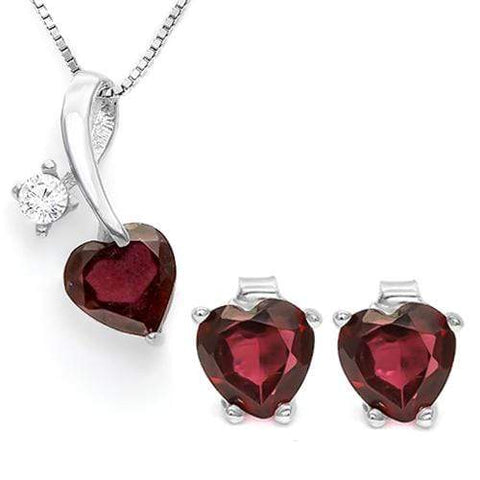 GARNET 925 STERLING SILVER SET - Wholesalekings.com