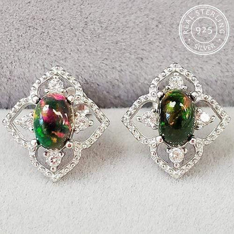 GENUINE ETHIOPIAN BLACK OPAL & CREATED WHITE TOPAZ 925 STERLING SILVER EARRINGS - Wholesalekings.com
