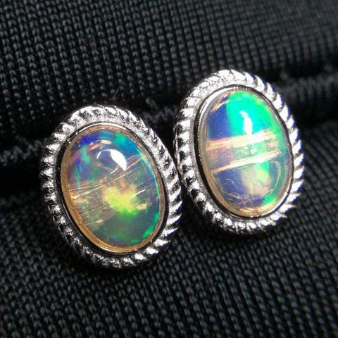 GENUINE ETHIOPIAN OPAL  1.00 CT GENUINE ETHIOPIAN OPAL 925 STERLING SILVER EARRINGS - Wholesalekings.com