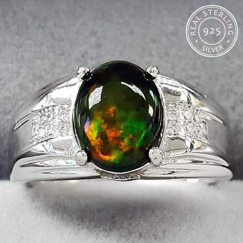 GENUINE ETHIOPIAN OPAL & CREATED WHITE TOPAZ MENS 925 STERLING SILVER ADJUSTABLE RING wholesalekings wholesale silver jewelry