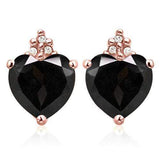 GENUINE SOLID 10KT ROSE  GOLD HEART SHAPE 1.88CT MIDNIGHT BLUE SAPPHIRE  AND 6 DIAMONDS EARRINGS STUD - Wholesalekings.com